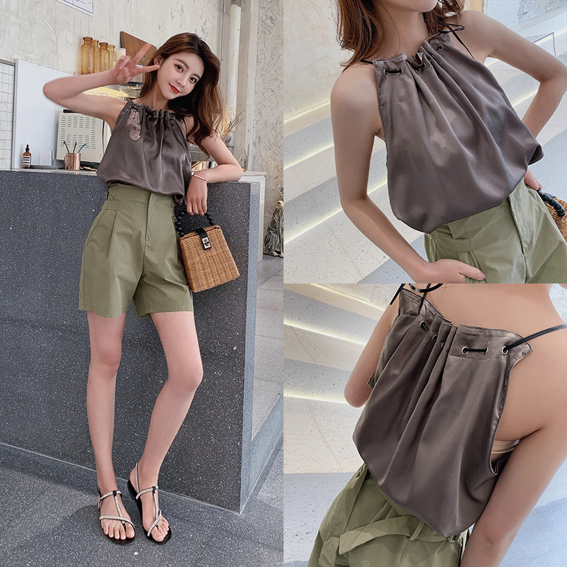 WOMEN'S Suit  New Style Summer Sleeveless Shirt Camisole + High-waisted Hot Pants Slim Fit Shorts Women's F7090