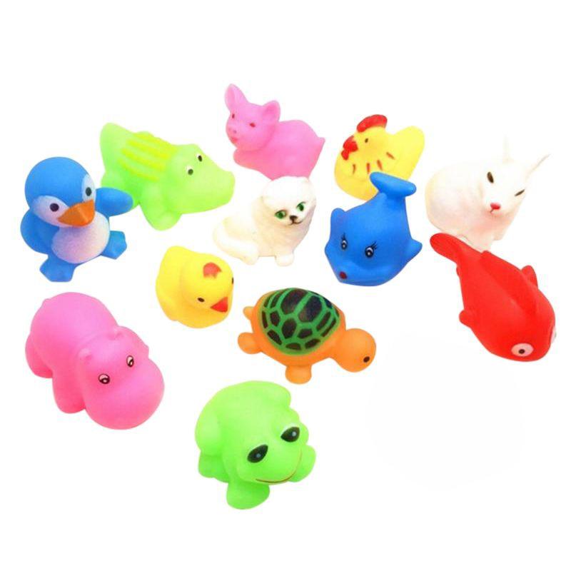 13 Pcs Summer Baby Toys Children Bathing Water Toys Animal Pinching Voice Float Squeaky Animal Toy
