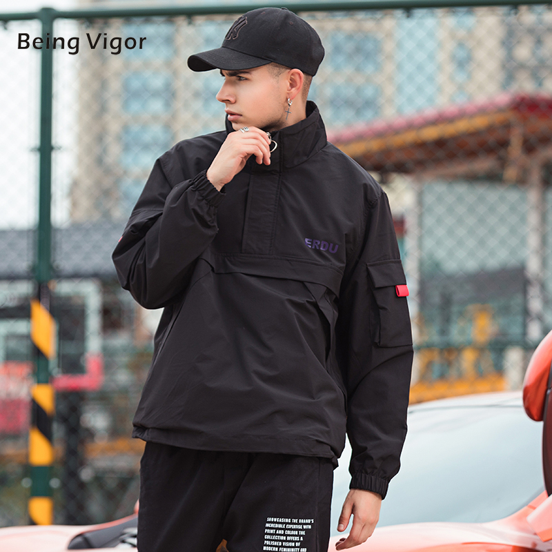 Outwear Anorak-Jackets Overcoat Windbreaker Hip-Hop Male Outdoor Casual Mens Patchwork title=