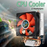 8cm 미니 CPU 쿨러 2 히트 파이프 PC CPU 쿨러 히트 싱크 컴퓨터 냉각 팬 LGA 775/1155/1156 AMD AM2 AMD3 무료 배송