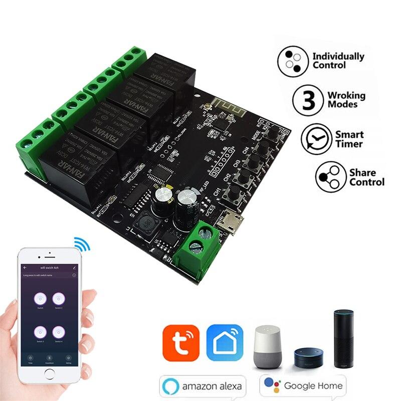 4ch tuya inteligente wi fi avançando interruptor do relé diy inteligente sem fio wi fi relé módulo momentâneo