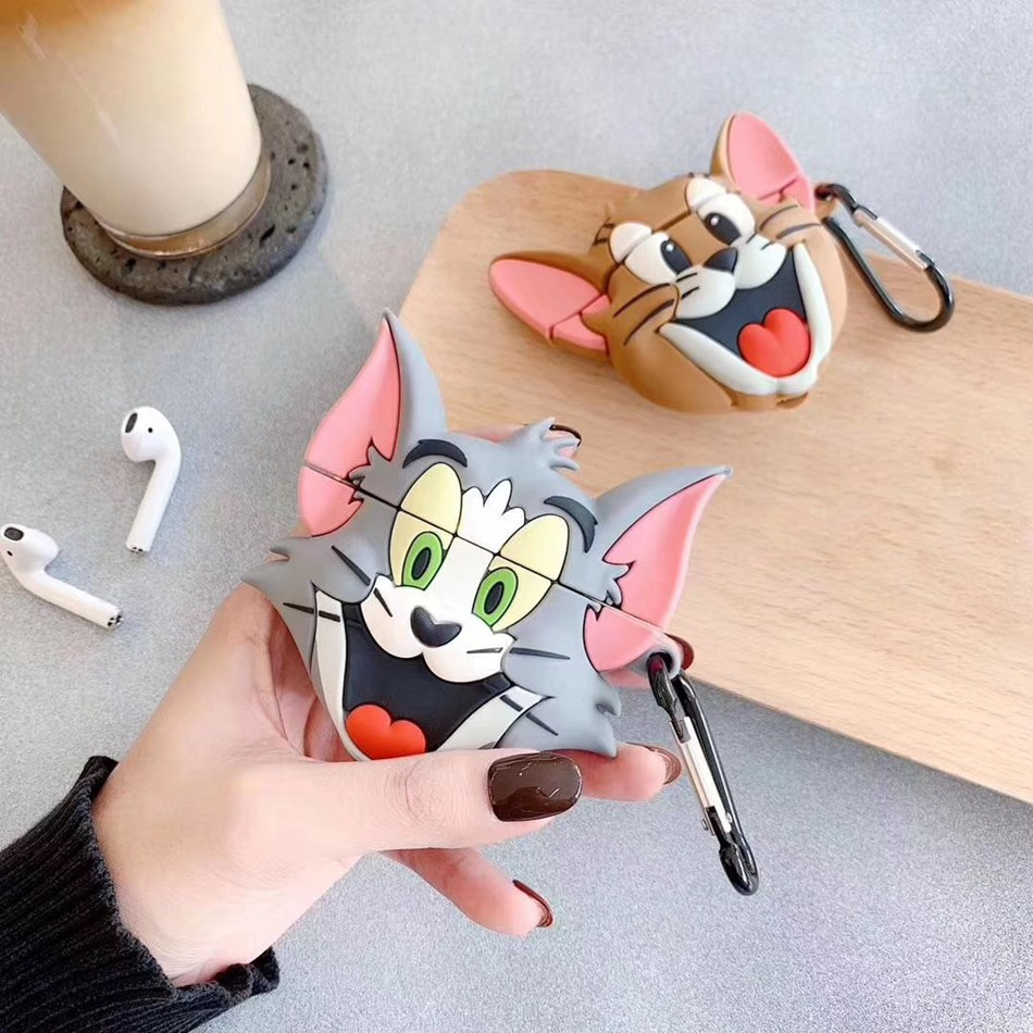 3D Unicorn Mouse Earphone Case For Airpods 2 Case Silicon Cat Cover For Airpods 1 Headphone Case  Earbuds Case Cover Ring Strap