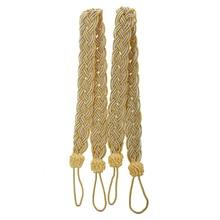 2 Rope curtain tiebacks- slender slinky rope cord drape hold backs fabric ties