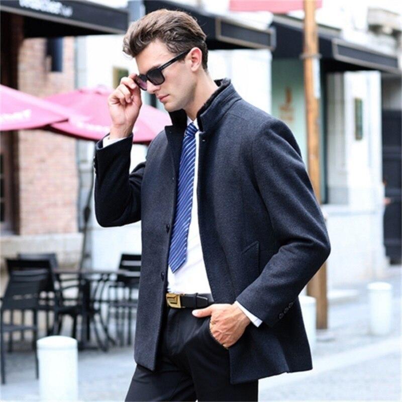HighqualityWoolen Overcoat Brand Clothing Winter Jakets For Men Windbreaker Jacket Thickened Woolen Coat Removable Inner Bladder