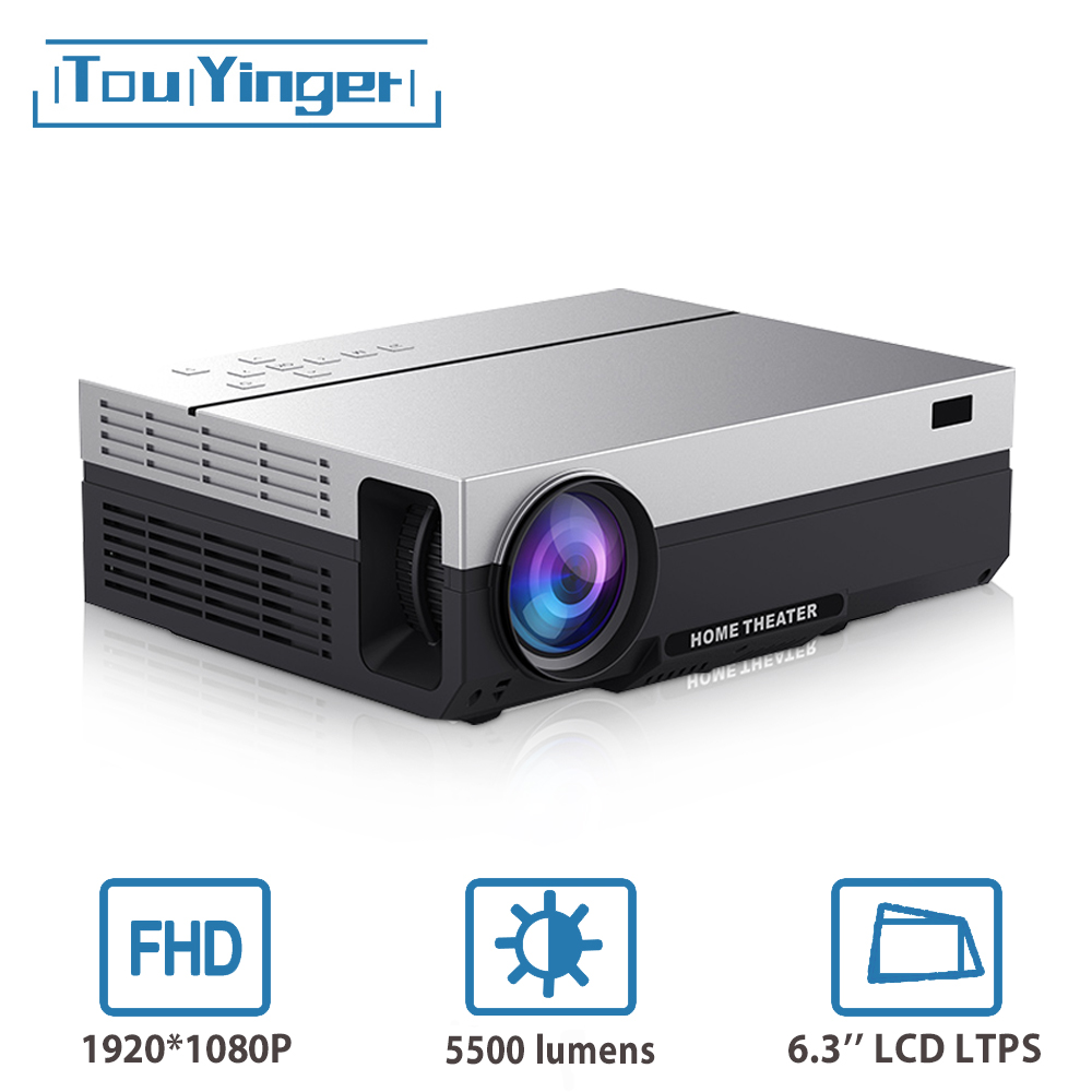 Touyinger t26l t26k 1080p led completo hd projetor vídeo beamer 5500 lúmen fhd 3d cinema em casa hdmi (android 9.0 wifi ac3 opcional)