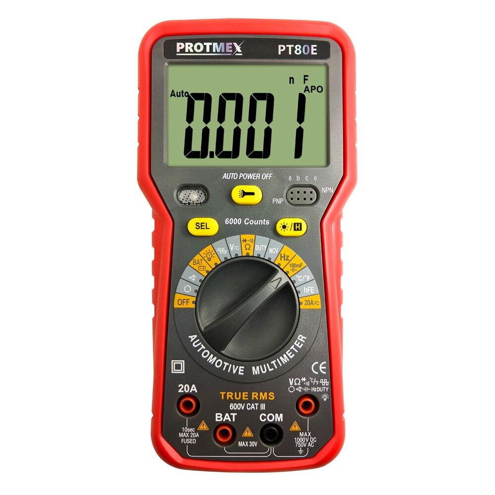 Счетчик цифровой авто тестер мультиметр DC/AC напряжение, ток, сопротивление, емкость тестер PT 80E