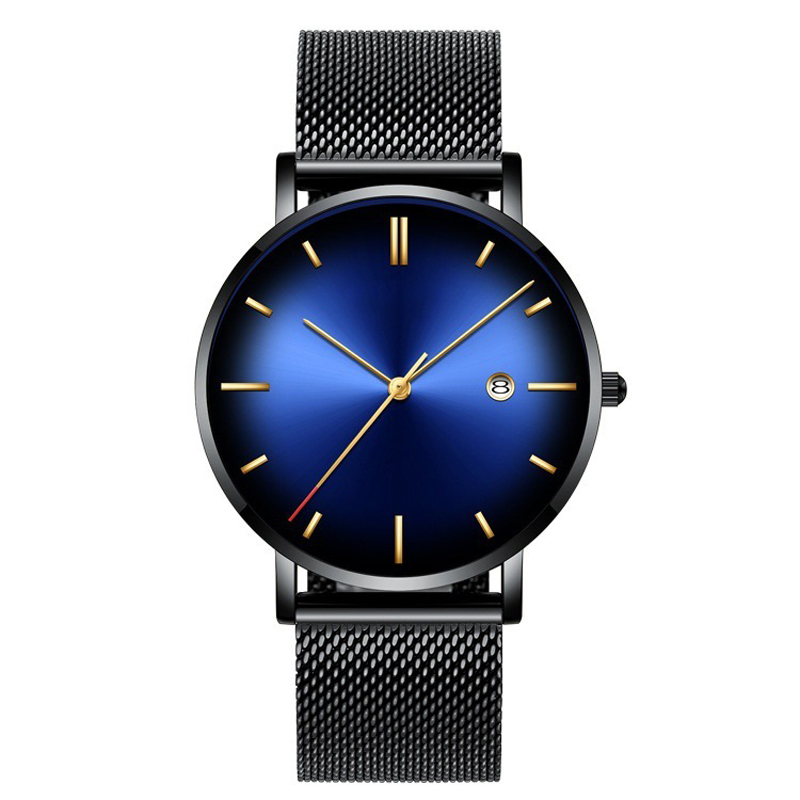 Fashionable Men's S Watches Top Brand Luxury Quartz Watches Men's Casual 13 Colors Gradient Mesh Steel Waterproof Sports Watches