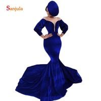 Royal Blue Velvet Formal Evening Dresses Long Illusion O Neck Long Sleeve Evening Gowns Mermaid Dinner Party Dresses D1235