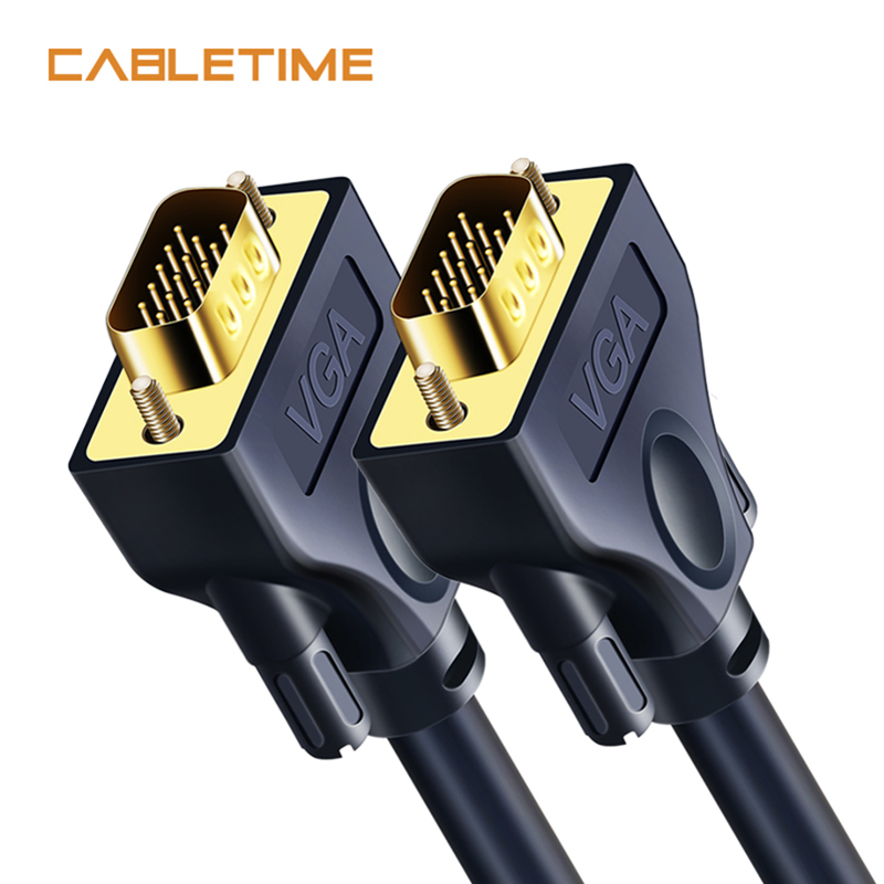Cabletime <font><b>VGA</b></font> <font><b>Cable</b></font> 3+9C Braided High Premium Shielding <font><b>VGA</b></font> to <font><b>VGA</b></font> M/M 15 PIN For HDTV PC Laptop TV Extend <font><b>Cable</b></font> <font><b>15M</b></font> N120 image