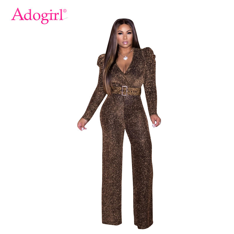 Adogirl High Stretch Nylon Shiny Gold Silk Casual Jumpsuit Women Sexy V Neck Long Sleeve Romper Wide Leg Pants Party Overalls