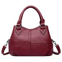 2019 กระเป๋าถือผู้หญิงสามช่องใหญ่ความจุกระเป๋ากระเป๋าถือสุภาพสตรีกระเป๋าหนังแท้กระเป๋าไหล่กระเป๋า