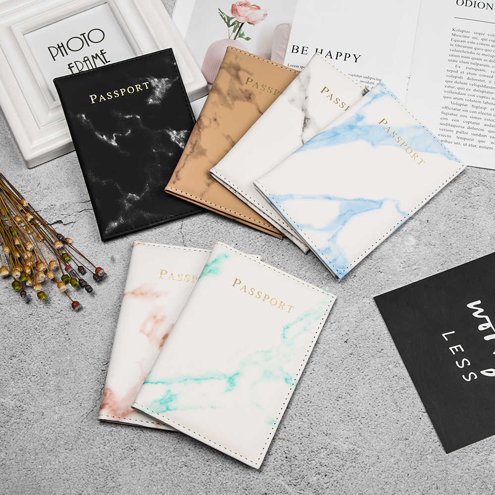 Funda de pasaporte de estilo de mármol colorido porta pasaporte impermeable funda de Viaje Funda de pasaporte de alta calidad
