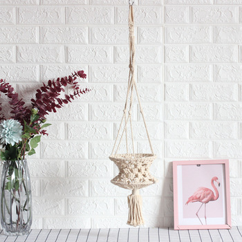 Hand-woven Basket Hanging Backgound Garden Living Room Decor Cotton And Line Ornaments Creative Home Fashion Pendant image