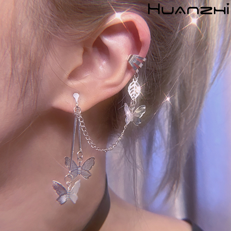 HZ New Butterfly Fairy Exaggeration 2019 Tassel Elegant Cool Unique Ear Bone Clip Silver Dangle Earrings For Women Jewelry Gifts(China)