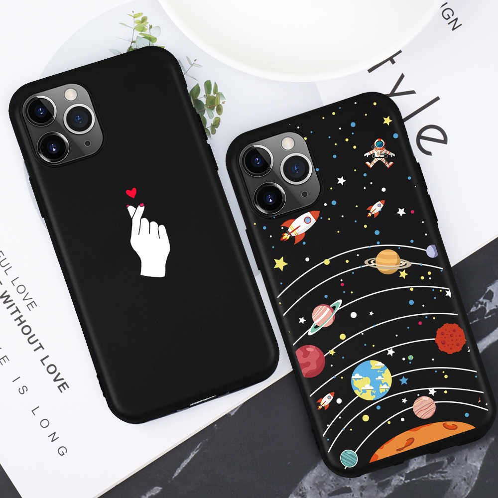 Black Matte Silicone Cases For iPhone 11 11Pro Max 6 6S 8 7 Plus X XR XS MAX 5 5S SE Space Heart TPU Cover For iphone 11 Pro 10