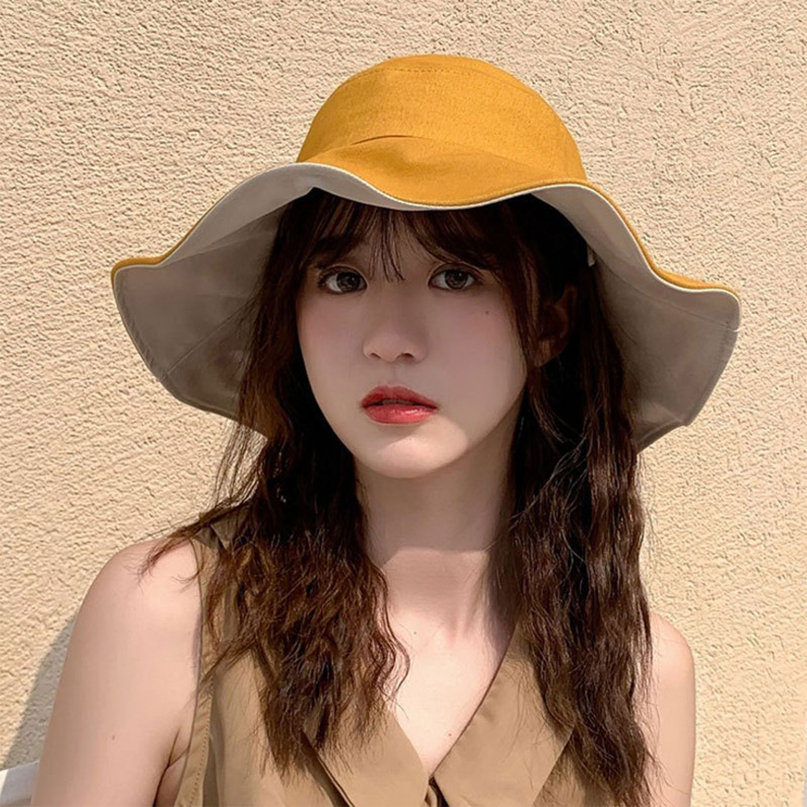 New Ladies Multicolor Double-Sided Wide-Brimmed Sun Hat Summer UV Protection Floppy Disk Double-Sided Beach Bucket Hat