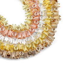 JHNBY Gold Silvers Emperor Crown Hematite Natural Stone 13mm 5pcs Spacer Loose Beads For Jewelry bracelet Making Diy Accessories