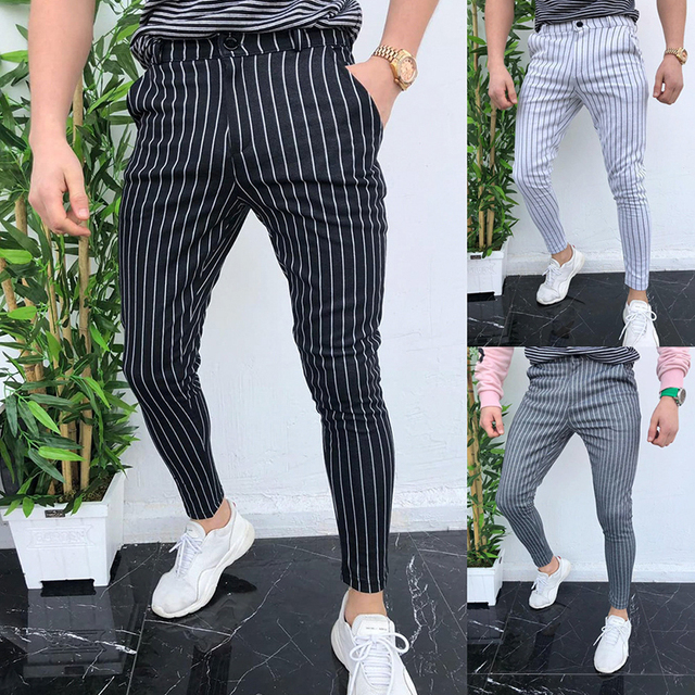 New Men's Striped Casual Slim Fitness Pants Male Trousers Business Pencil Casual Fashion Elastic Bodybuilding Streetwear 6