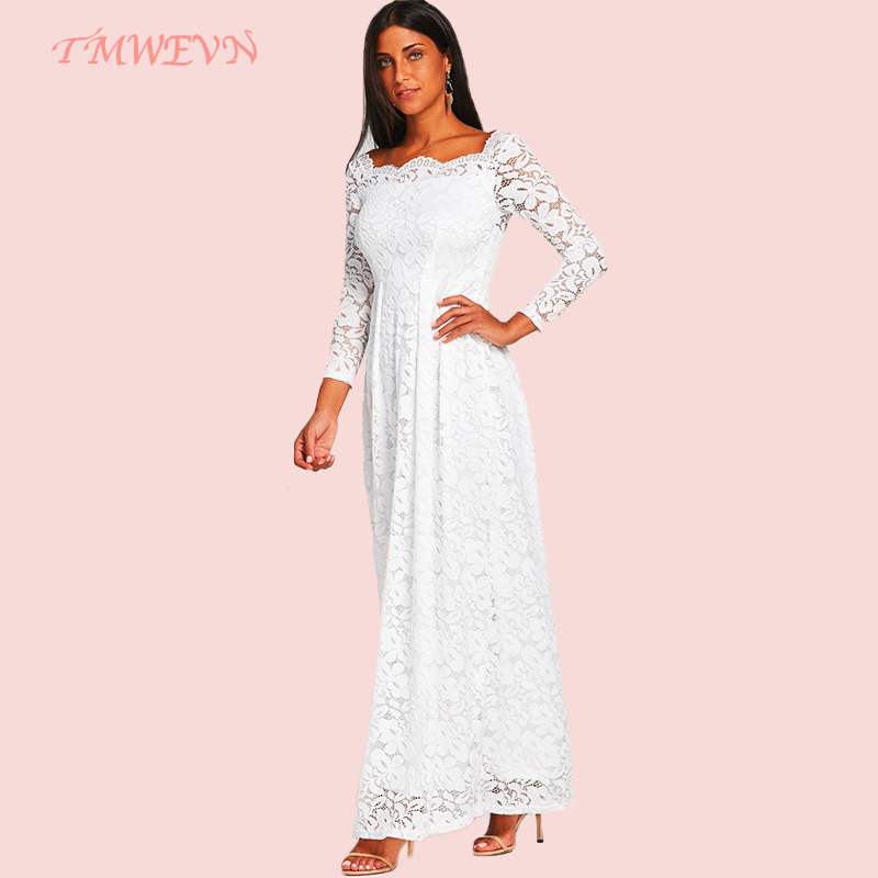TMWEVN <font><b>Women</b></font> Brand White Lace <font><b>Dresses</b></font> <font><b>Sexy</b></font> Off Shoulder Vestido De Festa Tunic Slim <font><b>Evening</b></font> <font><b>Party</b></font> Long <font><b>Dress</b></font> image