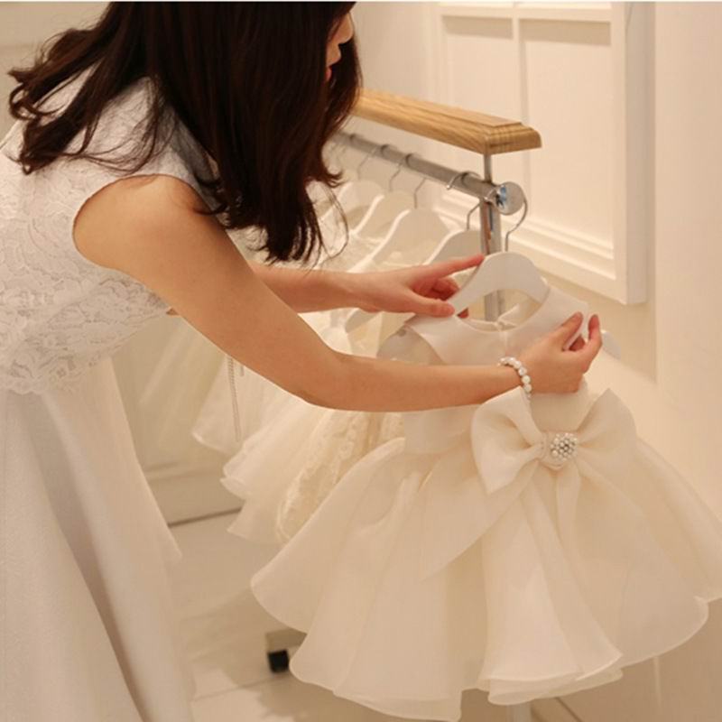 Newborn Dress Baby Girls Gown For Baptism Christening 1st Birthday Bow Party Prom Toddler Girl Party Dresses E24156