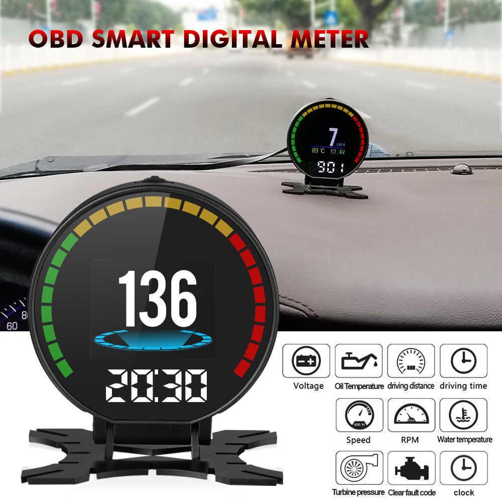 جديد الرقمية سرعة رصد سيارة رئيس متابعة العرض OBD2 السيارات سيارة OBD ضبط اكسسوارات السرعة RPM درجة الحرارة توربو ضغط 5