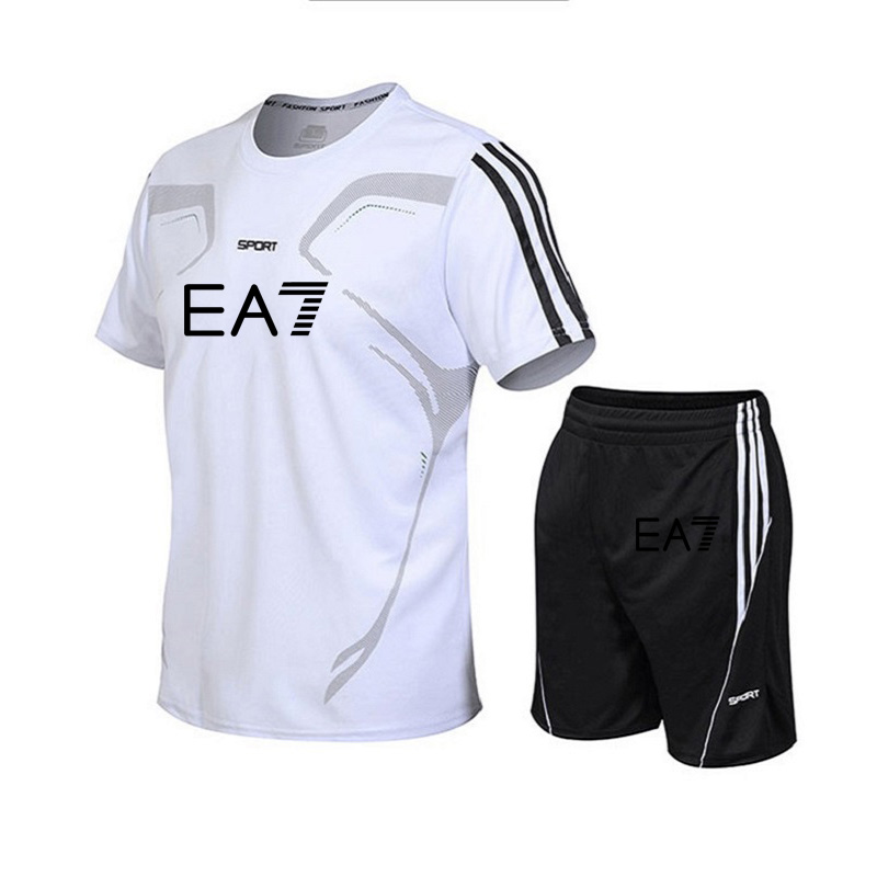 2019 EA7 Brand Men Sets Summer Running Sets Men Sport Suits Gym Fitness Training Breathable Tracksuit Jogging Suits