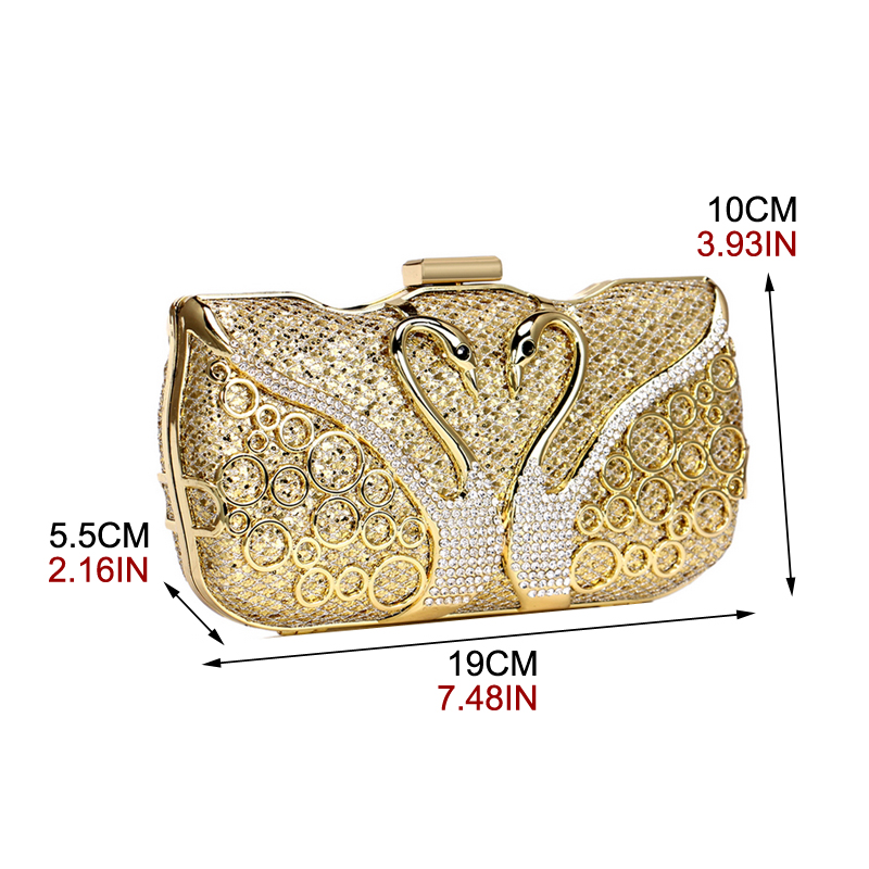 Image 5 - SEKUSA Luxury women evening bags hollow out style diamonds metal clutch purse wedding bridal small handbags for party bagsTop-Handle Bags   -