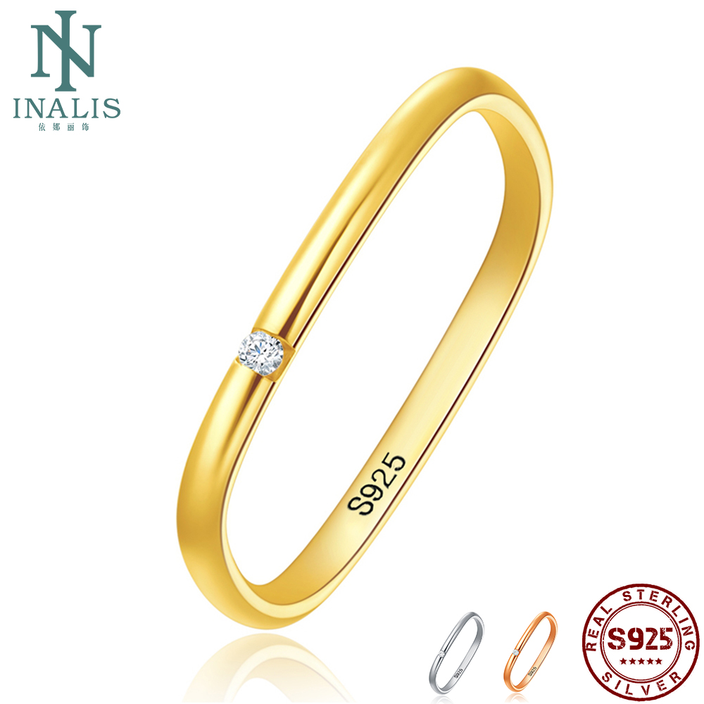 INALIS Square 925 Sterling Silver Rings For Women And Men Cubic Zircon Unisex Romantic Ring Wedding Anniversary Fine Jewelry