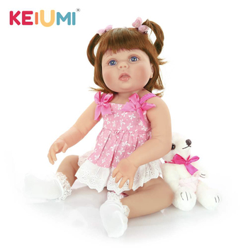 KEIUMI 23 inch Realistic Reborn Baby Dolls Full Silicone Vinyl Realistic Girl Doll For Children Birthday Gifts Best Playmate цена 2017