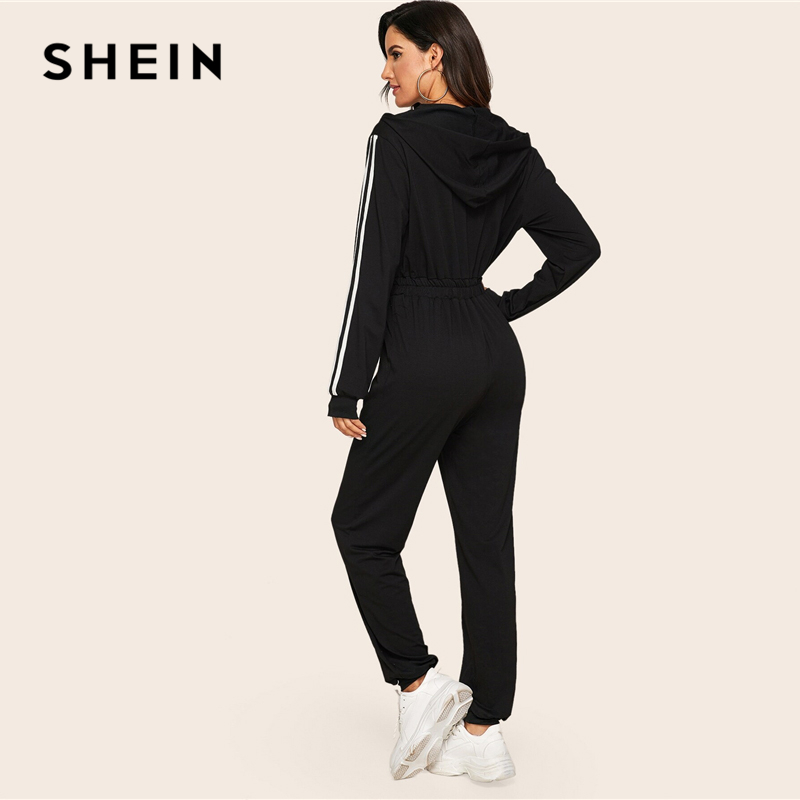 SHEIN Black Striped Side Zip Front Drawstring Hooded Jumpsuit Women Autumn Sporting Long Sweatpants High Waist Casual Jumpsuits 2
