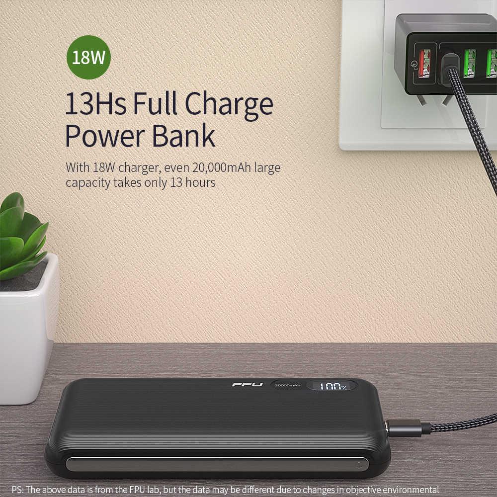 FPU Power Bank 20000 mah dla Xiaomi dla iPhone przenośny Powerbank 20000 mah telefon Poverbank ładowarka mobilny zewnętrzny zestaw akumulatorów