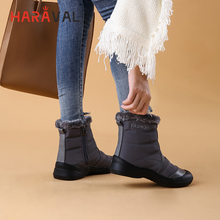 HARAVAL Classic Woman Warm Ankle Boots High Quality Cotton Fabric Round Toe Low Heel Shoes Solid Casual Winter Basic Snow