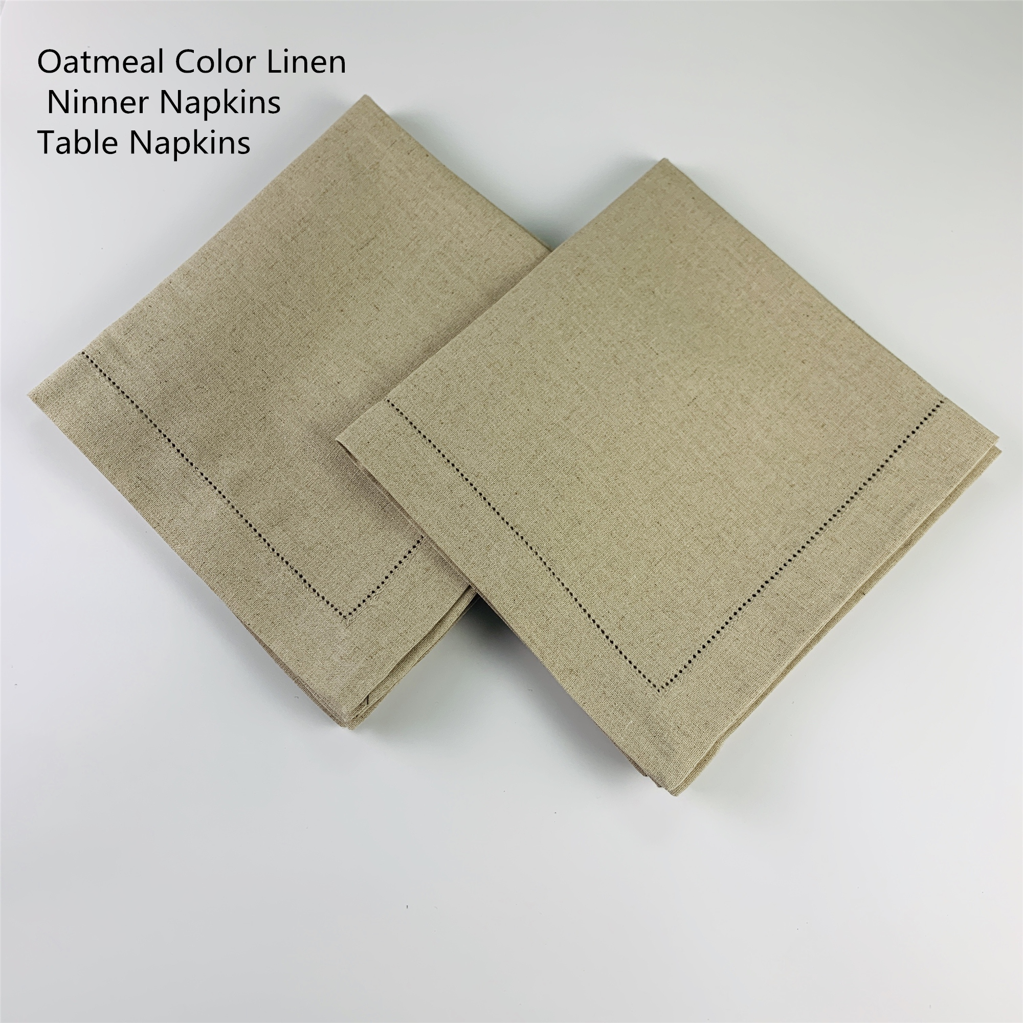 Set Of 12 Fshion Dinner Napkins  Oatmeal Color Linen Table Napkins 20x20-inch Ladder Embroidery Hemstitched Tea Napkins