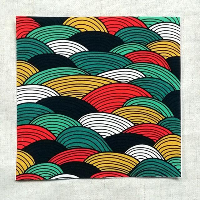 Tissu en toile de coton teint à la main avec motif Zephyr ondulé de 15cm, Scrapbook en tissu pour lot de Patch couture, tissu artisanal