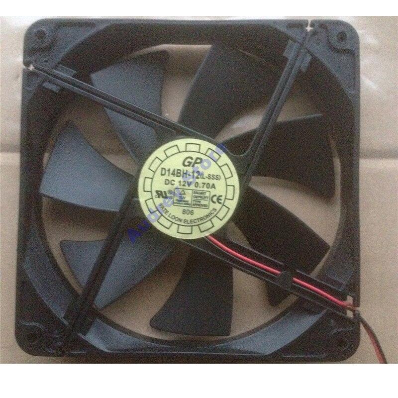 0.7A DC12V 8.4W 14cm 14025 2Pin D14BH-12 Double Ball Bearing Fan 2400rpm 98CFM 46Pa Air Blower