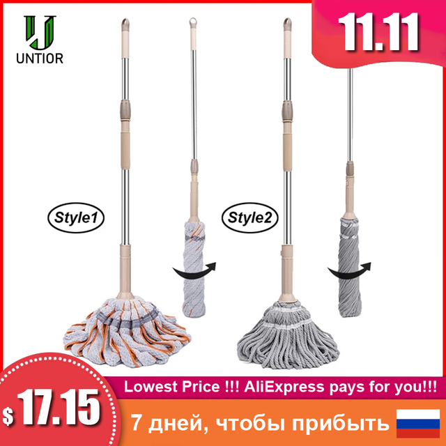 UNTIOR Microfiber Self twisted Spin Mop Magic Hand Free Washing Floor Cleaning Dust Mops With Removable Replace Mop head