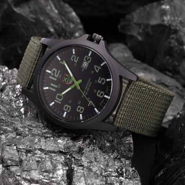 Outdoor Heren Horloges Waterdicht Datum Rvs Militaire Sport Horloge Analoge Quartz Leger Polshorloge Nylon Band Relogio