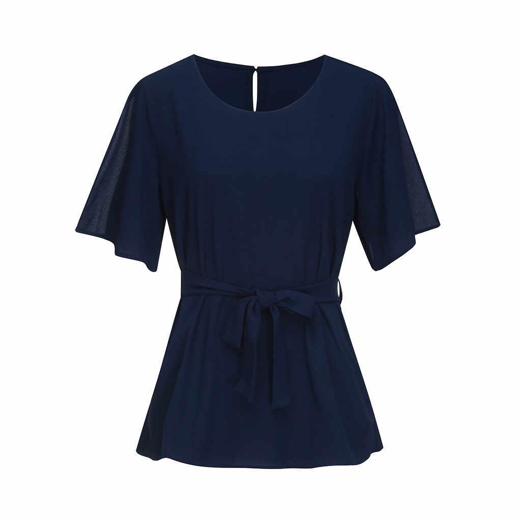Noeud Blouse chemise femmes grande taille manches courtes col rond ceinturé Vintage solide elegantes hauts blusas de mujer 2020 décontracté blusa