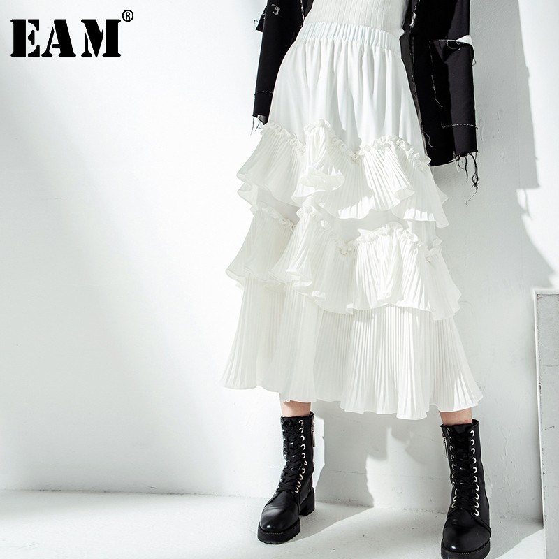 [EAM] 2019 New Spring Summer High Elastic Waist Black Irregular Pleated Ruffles Temperament Half-body Skirt Women Fashion JS521