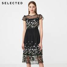 SELECTED Summer Slim Fit Lace Print Wrap Shoulder Sleeves Dress S|41922J546(China)
