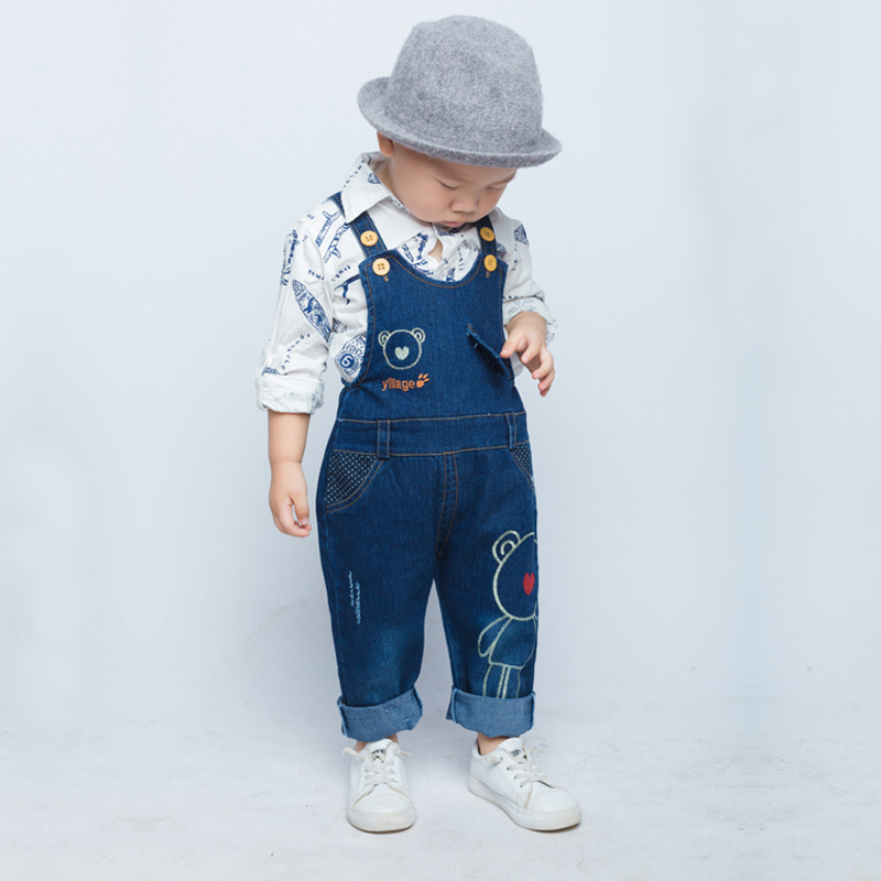 IENENS 1-3Y Boy's Jeans Overalls Baby Cartoon Dungarees Toddler Long Pants Kids Boy Denim Jumpsuit Clothes Clothing Trousers