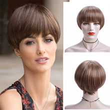 Joy&luck Short Straight Bob Wig Brown Mix Blonde Synthetic Wigs for Women Hair Wigs With Bangs High Temperature Synthetic Fiber(China)