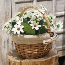 Hand-Woven Wicker Basket Simulation Flower Basket Single Handle Small Flower Basket with Hand Gift Basket
