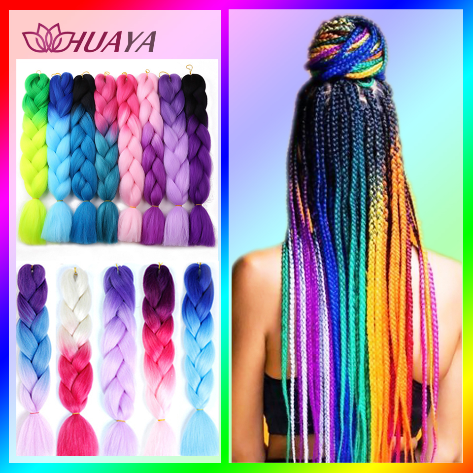 HUAYA Synthetic Jumbo Braids Braiding Hair Crochet Blonde Red Pink Blue Grey African Women's Colored Hair Extensions  Braids