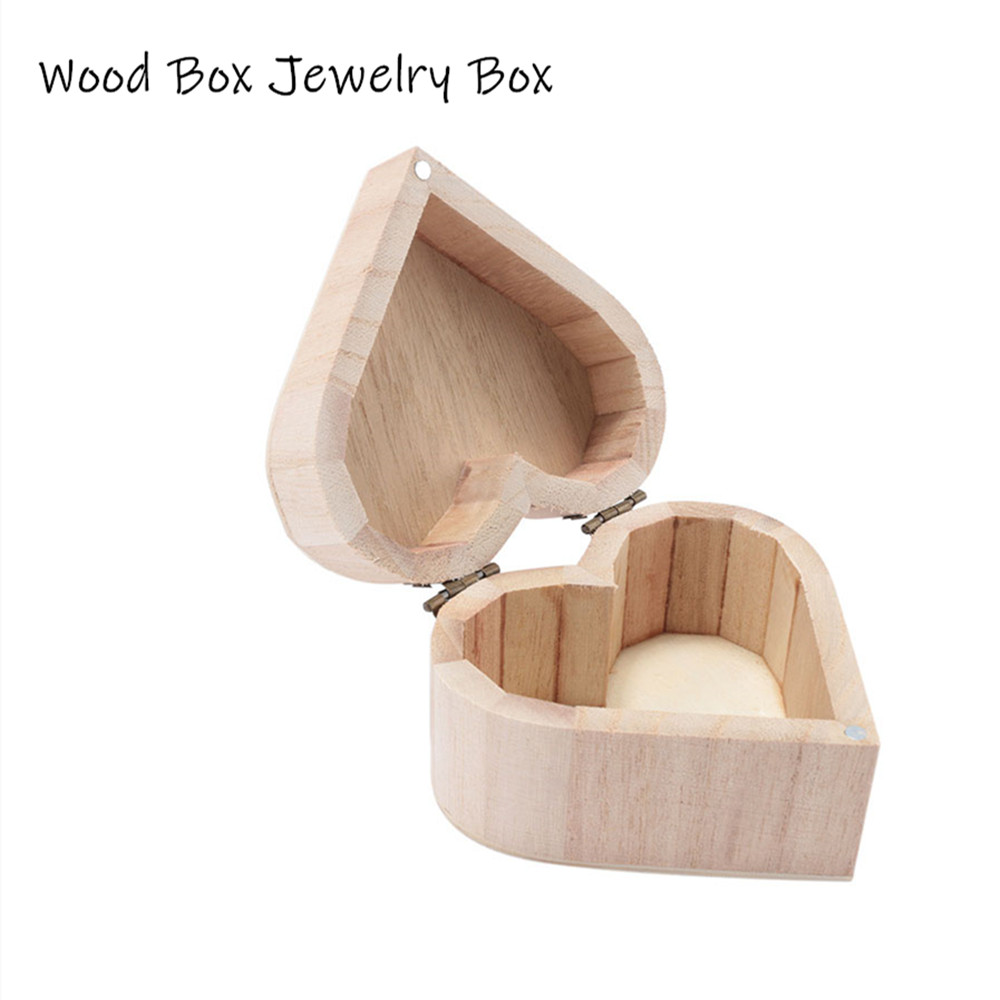 New Arrival Jewelry Storage Boxes Love Heart Shape Wood Box Jewelry Box Wedding Gift Home Storage Bin Earrings Ring Box