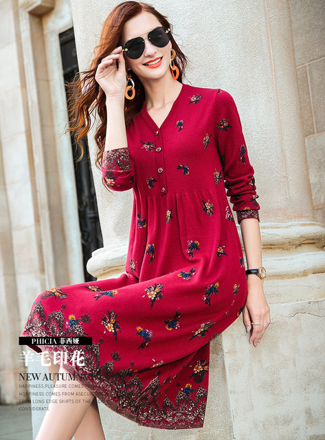 ZUOMAN New red wool knitting dress female autumn/winter 2020 v is gotten loose long hair dress knee-length dress 2
