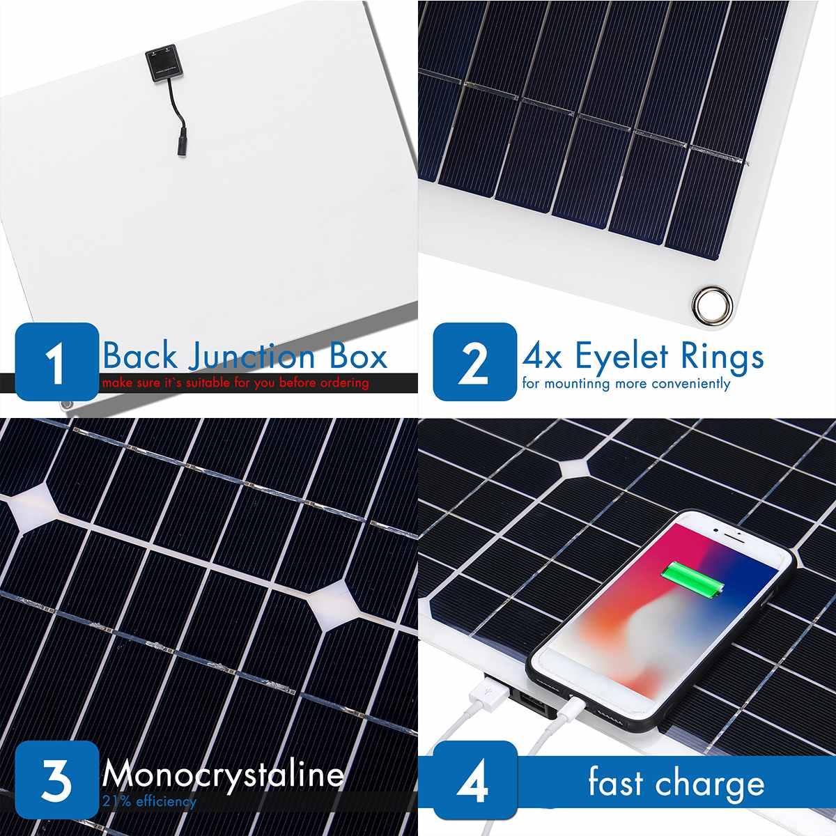 100W 18V Mono Solar Panel USB 12 V/5 V CC monocristalino Flexible Cargador Solar para coche RV barco cargador de batería impermeable - 3