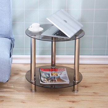 Tempered glass small coffee table round living room double-layer balcony table sofa bedside end table with stainless steel legs stainless steel sofa side table corner table tempered glass small apartment living room round coffee table end table