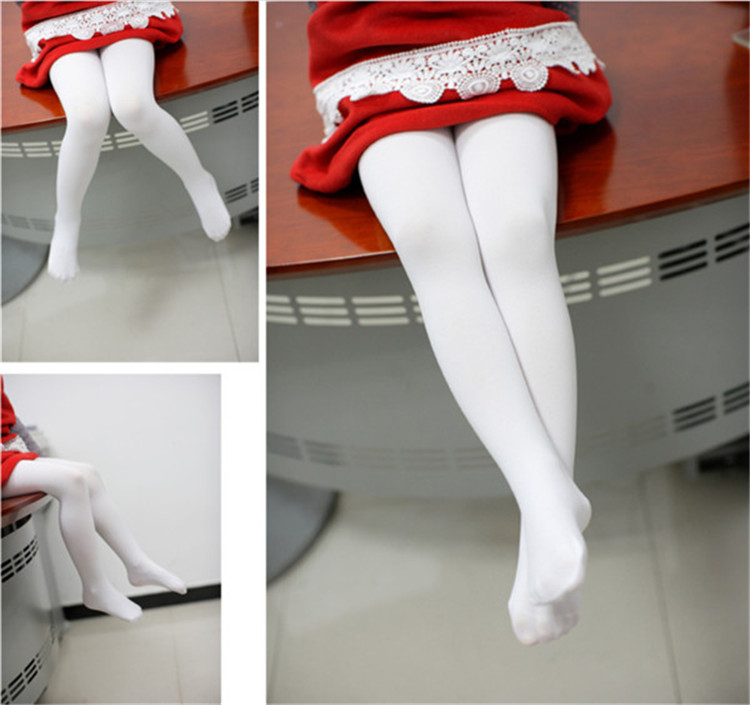 Gotd Girls Flower Pantyhose Dance Stocking Footed Socks Tights S:3-4 years old, White