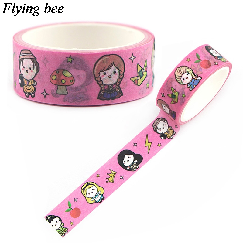 Flyingbee 15mmX5m Paper Washi Tape Cartoon Princess Adhesive Tape DIY Scrapbooking Sticker Label Masking Tape X0597